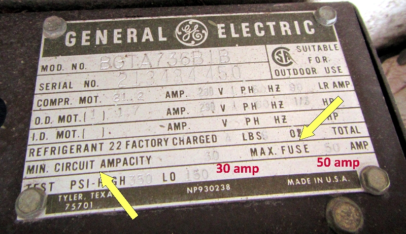 50 AMP Breaker on a 10 Gauge Wire.   NCW Home Inspections, LLC Ac Amp Gauge Wiring on